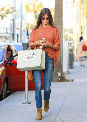 Alessandra Ambrosio in Jeans Shopping in Beverly Hills