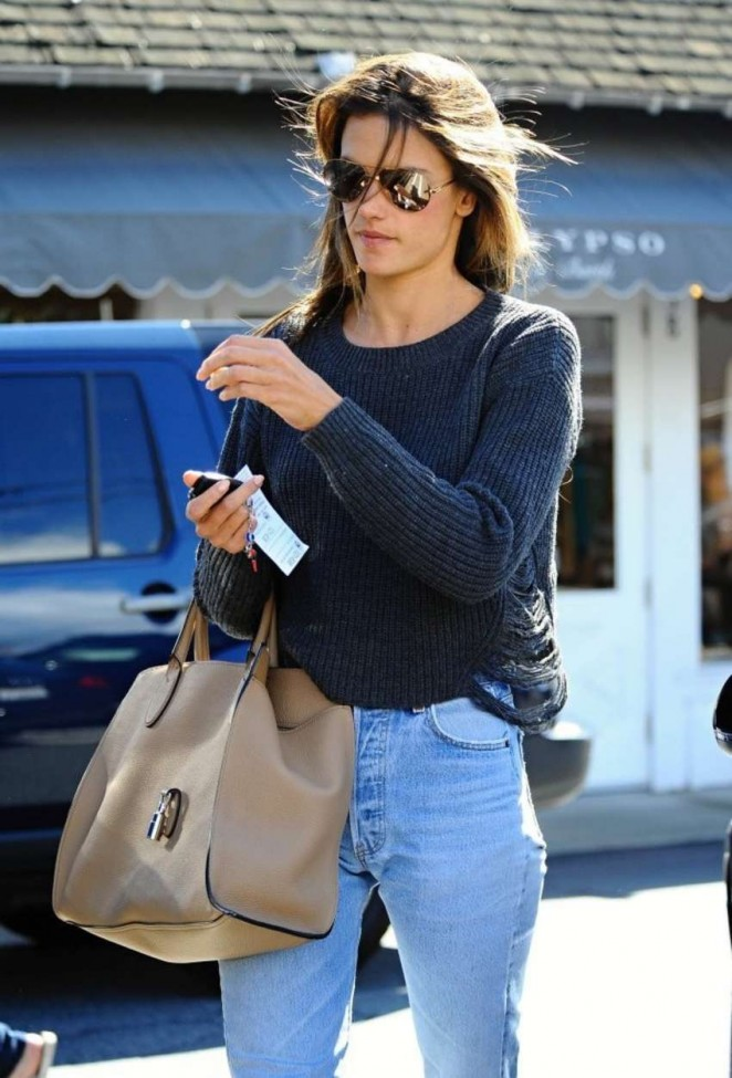 Alessandra Ambrosio in Jeans Shopping in Brentwood