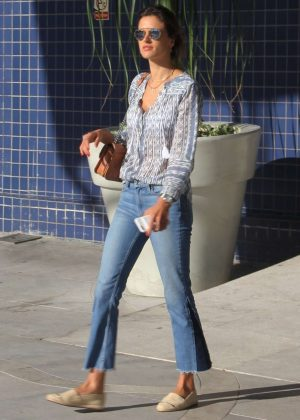 Alessandra Ambrosio in jeans shopping in Florianopolis
