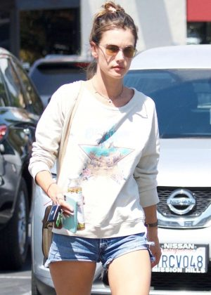 Alessandra Ambrosio in Jeans Shorts - Out in Los Angeles