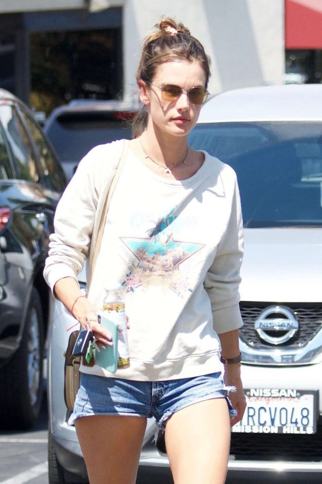 Alessandra Ambrosio in Jeans Shorts – Out in Los Angeles