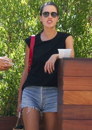 Alessandra Ambrosio in Jeans Shorts out in Malibu