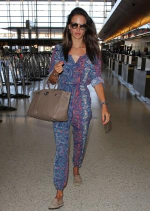 Alessandra Ambrosio in Jumsuit at LAX Airport in LA