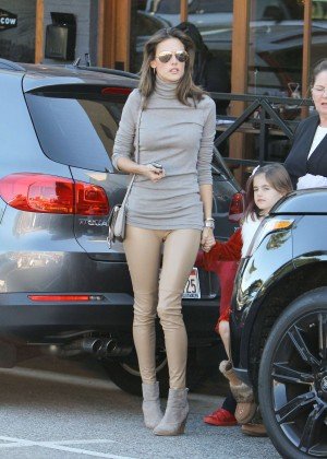 Alessandra Ambrosio in Leather Pants out in Los Angeles
