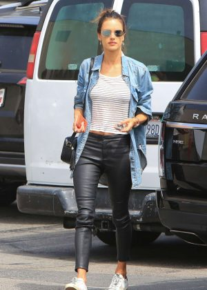 Alessandra Ambrosio in Leather Pants - Shopping in Los Angeles
