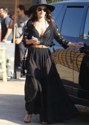 Alessandra Ambrosio in Long Black Dress out in Malibu
