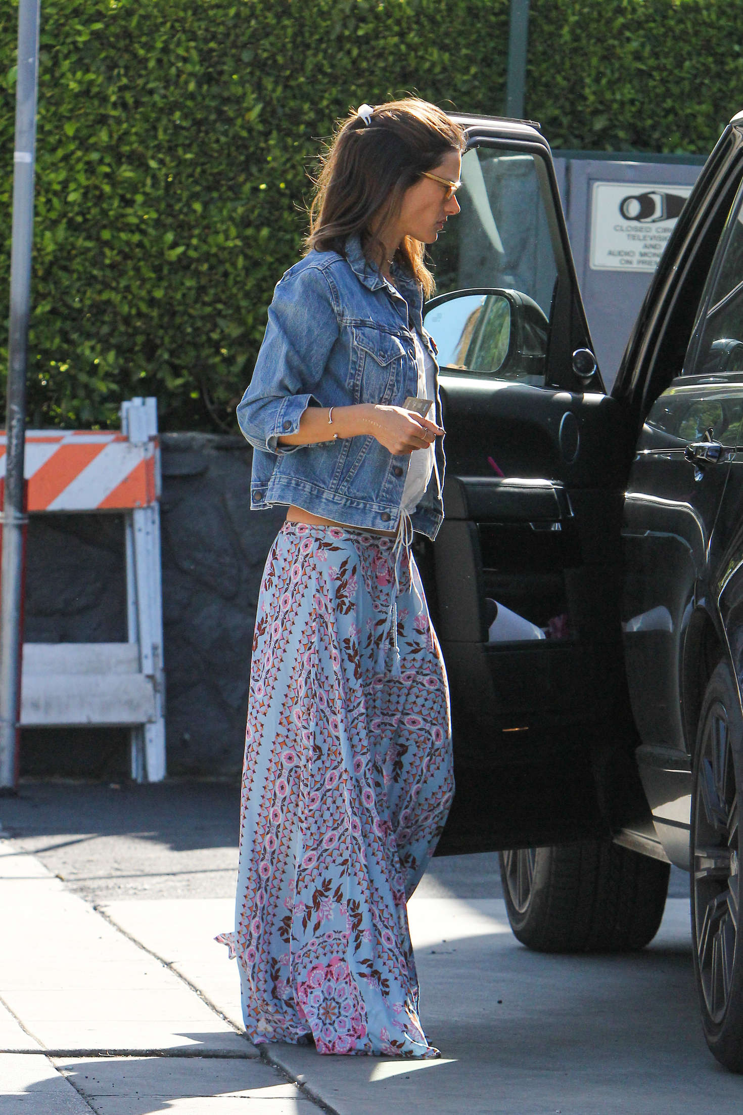 Alessandra Ambrosio in Long Skirt at a gas station in LA