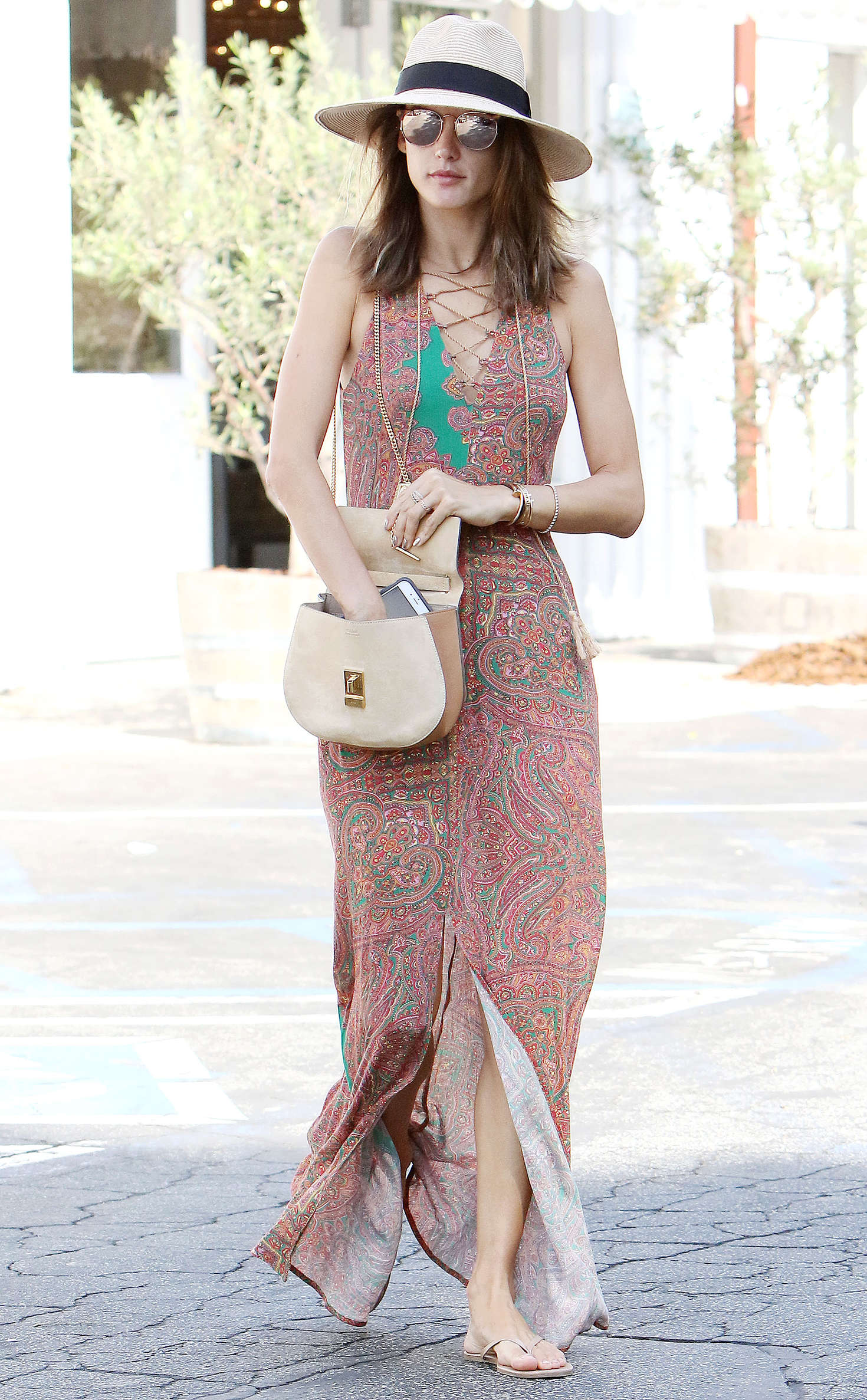 Alessandra Ambrosio in Long Summer Dress out in Brentwood
