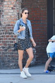 Alessandra Ambrosio in Mini Dress and Jeans Jacket - Out in Brentwood