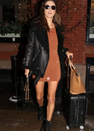 Alessandra Ambrosio in Mini Dress - Out in New York
