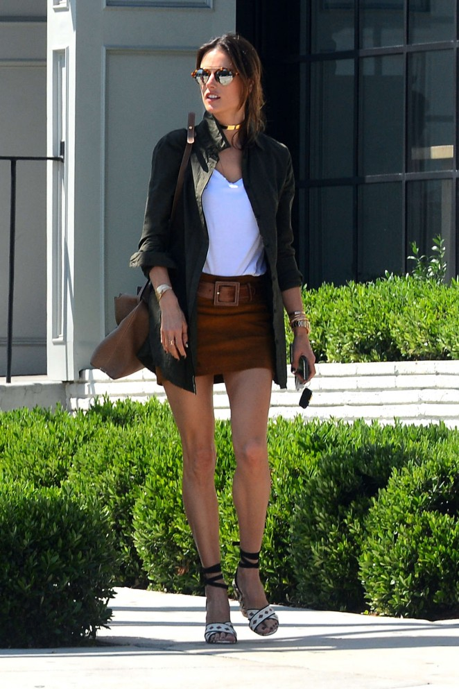 Alessandra Ambrosio in Mini Skirt at Gracias Madre in Los Angeles