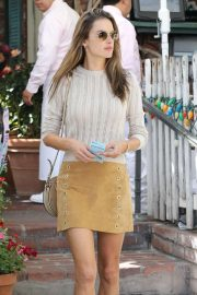 Alessandra Ambrosio in Mini Skirt at the Ivy in West Hollywood