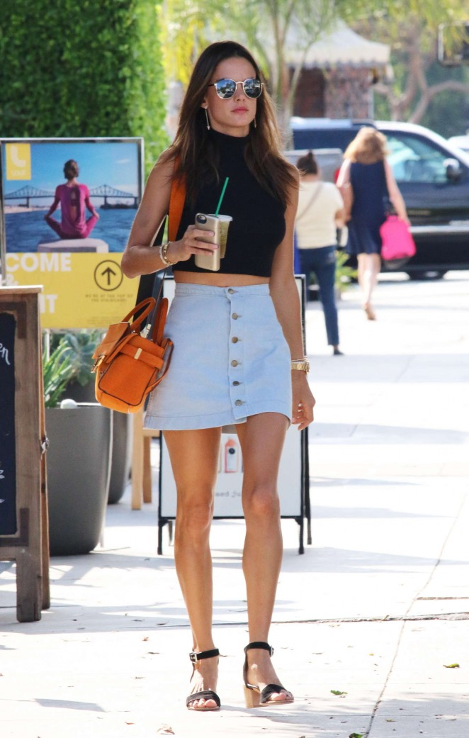 Alessandra Ambrosio in Mini Skirt Out in Brentwood