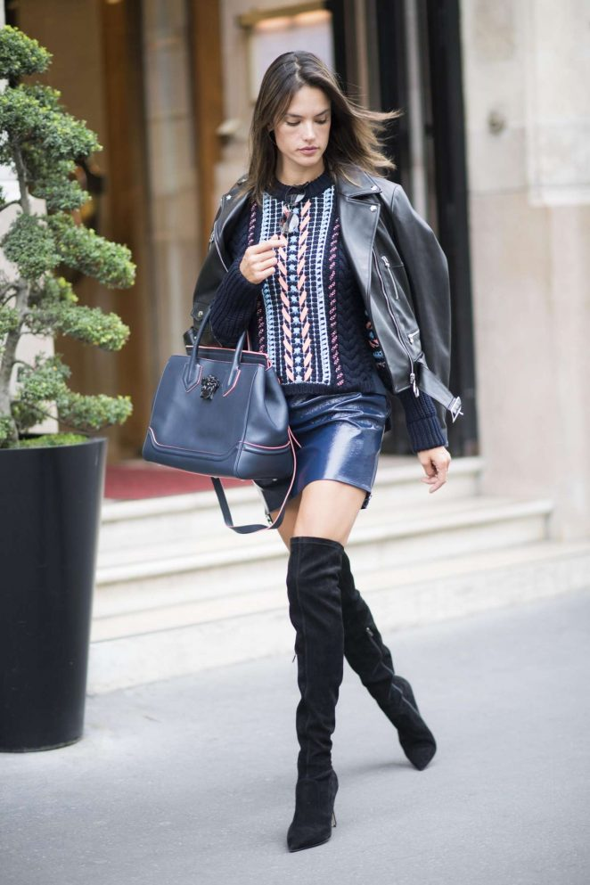 Alessandra Ambrosio in Mini Skirt out  in Paris