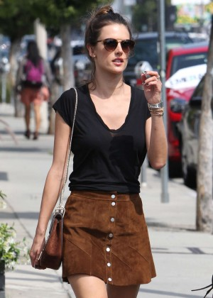 Alessandra Ambrosio in Mini Skirt Shopping in Weho