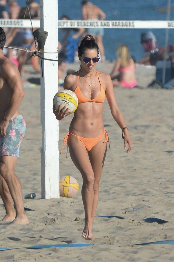 Alessandra Ambrosio in Orange Bikini at the beach in LA