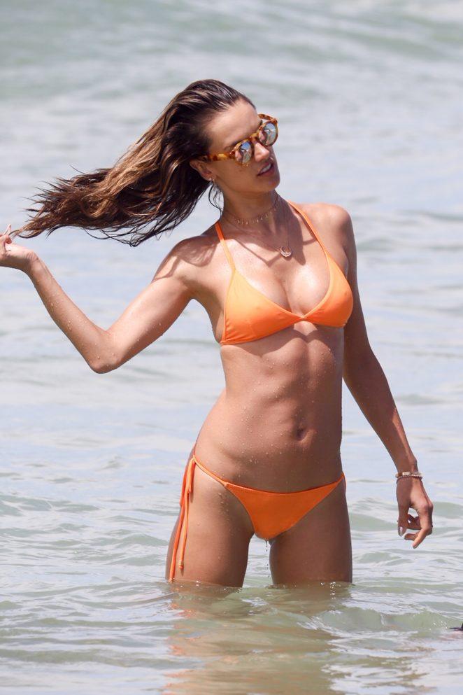 Alessandra Ambrosio in Peach Bikini on the beach in Rio de Janeiro