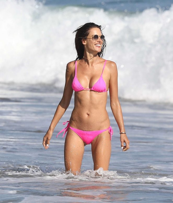 Alessandra Ambrosio in Pink Bikini at the beach in Malibu