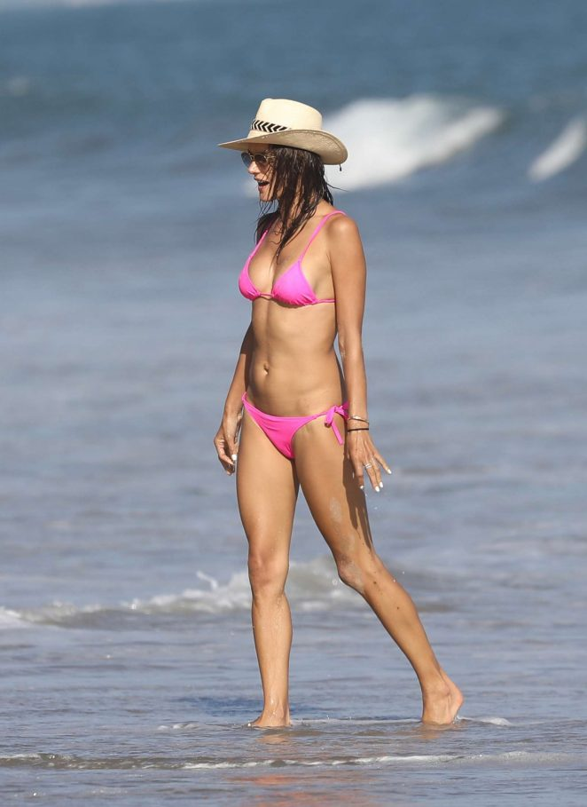 Alessandra Ambrosio in Pink Bikini in Malibu