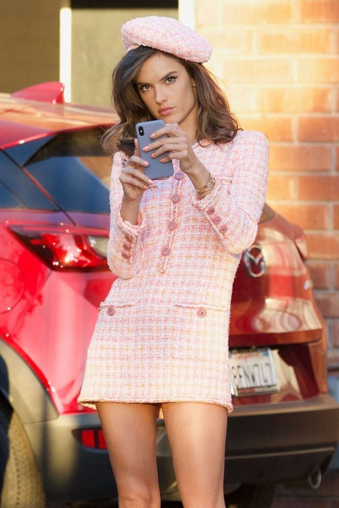 Alessandra Ambrosio in Pink Short Dress - On a photoshoot in Los Angeles