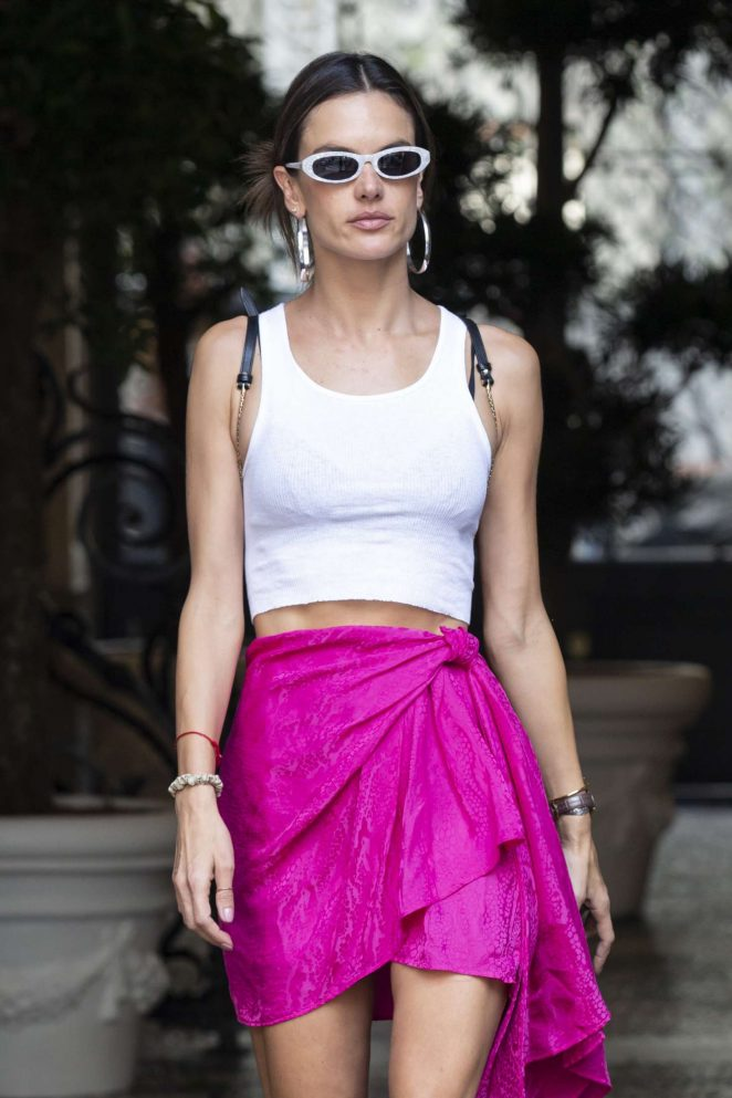 Alessandra Ambrosio in Pink Skirt – Out in Milan