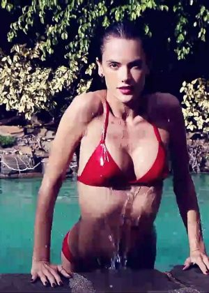 Alessandra Ambrosio in Red Bikini for Love Magazine 2017