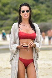 Alessandra Ambrosio in Red Bikini on the beach in Florianopolis