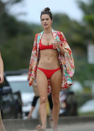 Alessandra Ambrosio in Red Bikini on the beach in Hawaii
