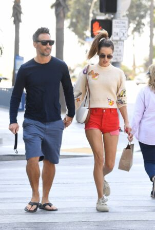 Alessandra Ambrosio - In red denim shorts out to lunch with boyfriend Richard Lee