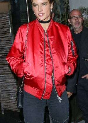 Alessandra Ambrosio in Red Jacket at Catch Restaurant In LA