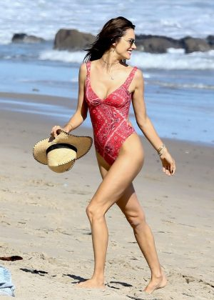 Alessandra Ambrosio in Red Swimsuit at the beach in Malibu