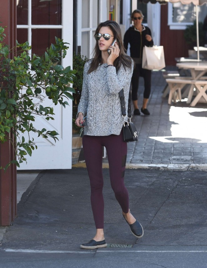 Alessandra Ambrosio in Red Tights Out in Brentwood