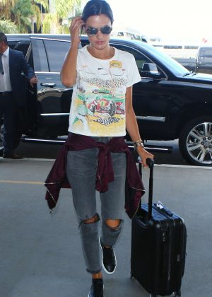 Alessandra Ambrosio in Ripped Jeans at LAX Airport in Los Angeles
