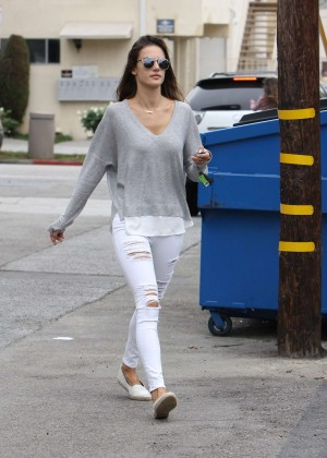 Alessandra Ambrosio in Ripped Jeans Out in Brentwood