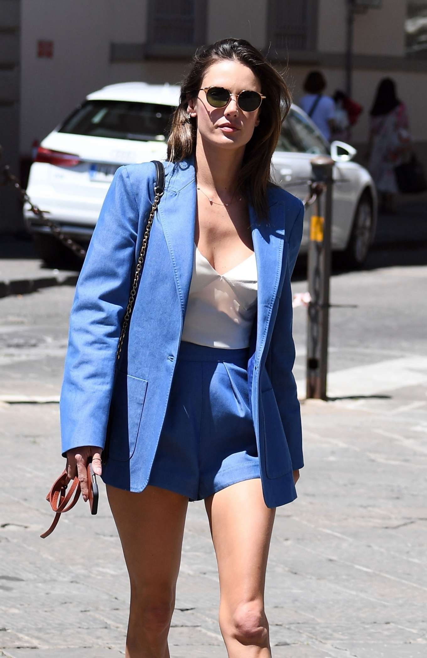 Alessandra Ambrosio - In shorts out in Florence