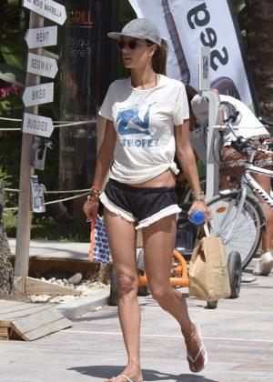 Alessandra Ambrosio in Shorts Riding Bikes -01