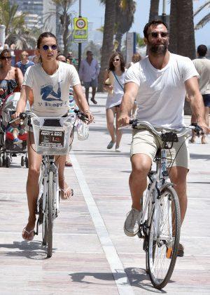Alessandra Ambrosio in Shorts Riding Bikes -03