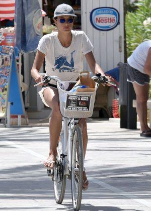 Alessandra Ambrosio in Shorts Riding Bikes -07