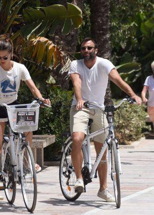 Alessandra Ambrosio in Shorts Riding Bikes -08