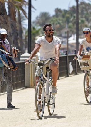 Alessandra Ambrosio in Shorts Riding Bikes -11