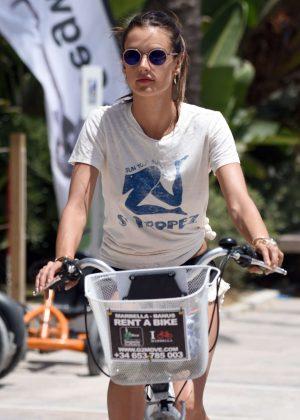 Alessandra Ambrosio in Shorts Riding Bikes -12