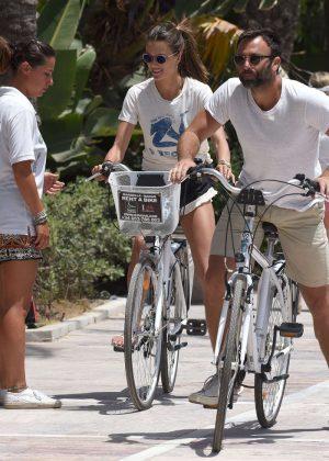 Alessandra Ambrosio in Shorts Riding Bikes -19