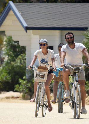 Alessandra Ambrosio in Shorts Riding Bikes -22