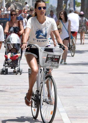 Alessandra Ambrosio in Shorts Riding Bikes -23