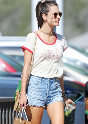 Alessandra Ambrosio in Shorts - Shopping at the Malibu Country Mart in Malibu