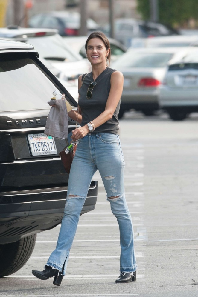Alessandra Ambrosio in Skinny Ripped Jeans out in LA