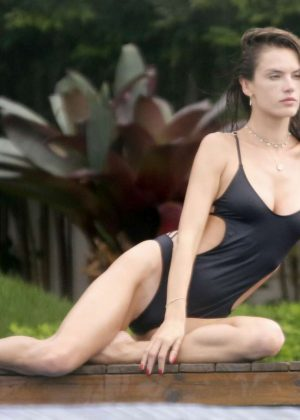 Alessandra Ambrosio in Swimsuit at a pool in Santa Catarina