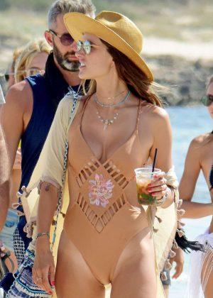 Alessandra Ambrosio in Swimsuit on the Beach in Ibiza