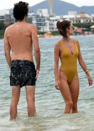Alessandra Ambrosio in Swimsuit on the beach in Santa Catarina