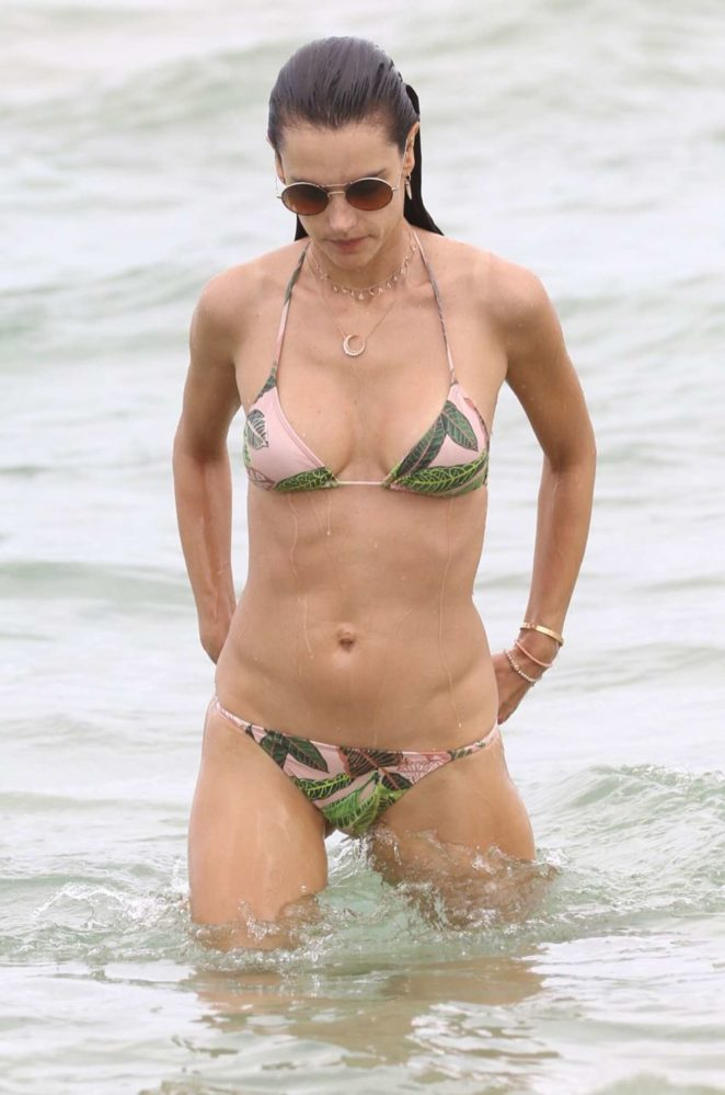 Alessandra Ambrosio in Teeny Bikini on the beach in Florianopolis